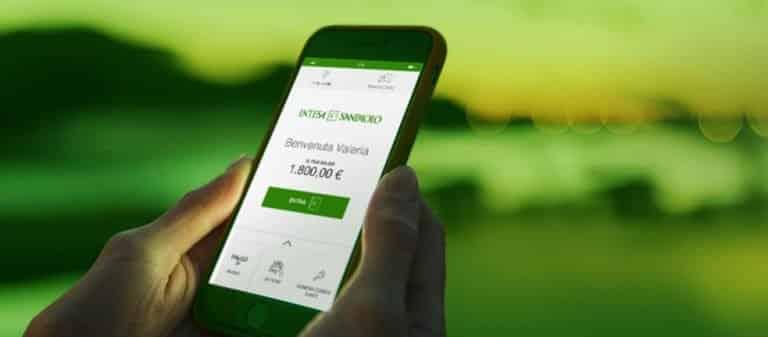 Schermata dell'applicazione Intesa San Paolo moble su uno smartphone