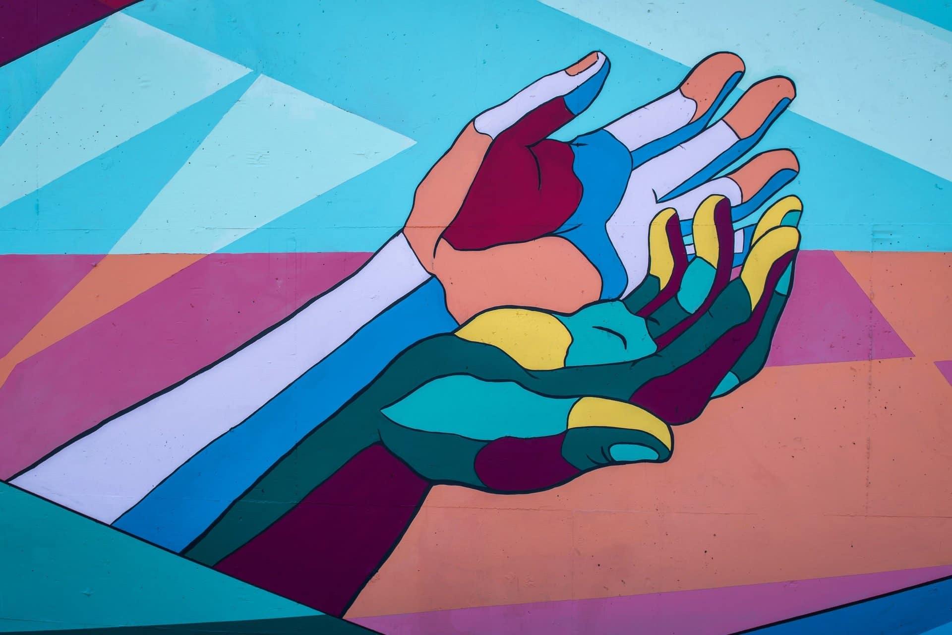 Illustrazione multicolore di due mani
